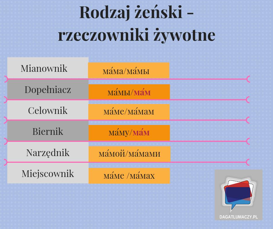 rzeczowniki żywotne rodzaju żeńskiego w języku rosyjskim