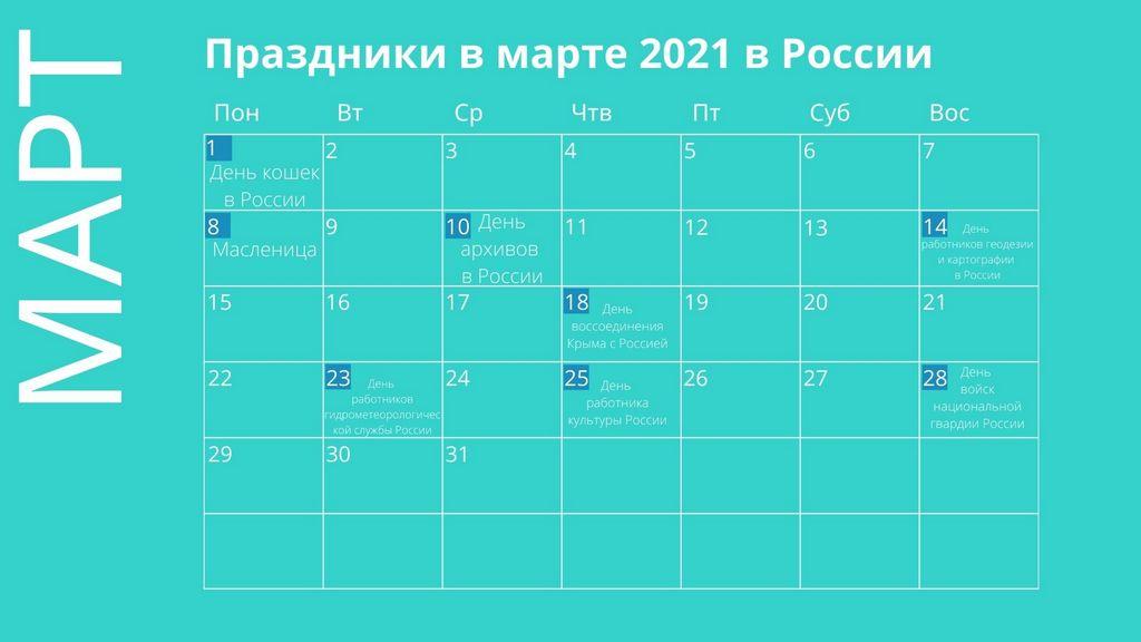 rosyjski kalendarz na marzec